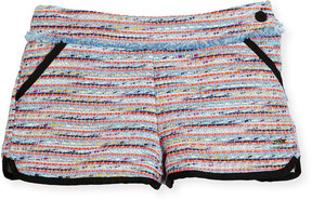 Karl Lagerfeld Tweed Fringe Dolphin Shorts, Multicolor, Size 6-10