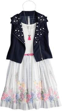 Beautees Girls 7-16 Studded Moto Vest & Floral Belted Skater Dress Set with Necklace