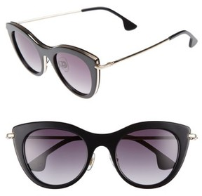 Alice + Olivia Women's Gansevoort 48Mm Special Fit Cat Eye Sunglasses - Black