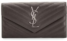 Saint Laurent Monogram Leather Medium Flap Continental Wallet - DARK ANTRACITE - STYLE