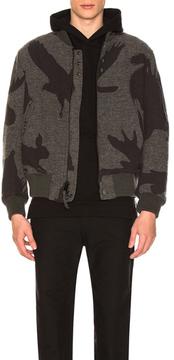 Engineered Garments Wool Jacquard Aviator Jacket in Abstract,Gray.