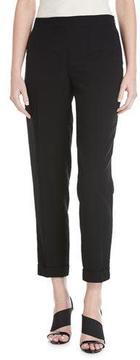 Akris Manuela Seersucker Cropped Pants, Black