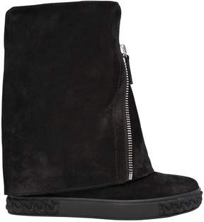 Casadei 80mm Zipped Suede Wedged Boots