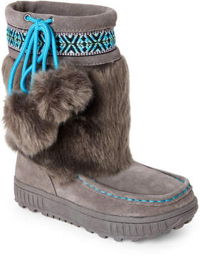 BearPaw Kids Girls) Charcoal Hope Pom Pom Boots