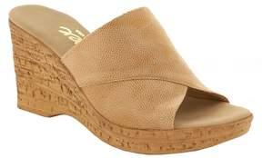 Onex Christina Leather Banded Cork Wedge Sandals