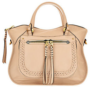As Is orYANY Pebble Leather Satchel with Braiding Detail - Sarah