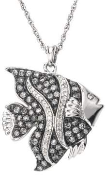 Armani Exchange Jewelry Diamond Fish Necklace in Sterling Silver (0.85 carats, H-I I2 and Grey Diamonds)