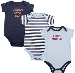 Luvable Friends Blue & White 'Mommy' Three-Piece Bodysuit Set - Infant