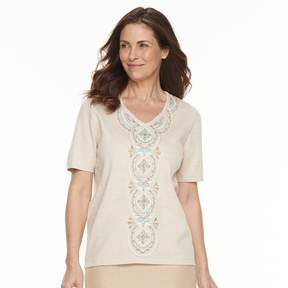 Alfred Dunner Women's Studio Embroidered Short-Sleeve Sweater