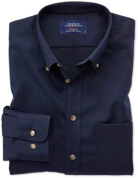 Charles Tyrwhitt Extra Slim Fit Button-Down Non-Iron Twill Navy Blue Cotton Casual Shirt Single Cuff Size Medium