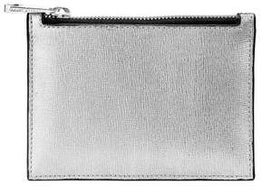 Aspinal of London Small Essential Flat Pouch In Silver Saffiano Black Polish