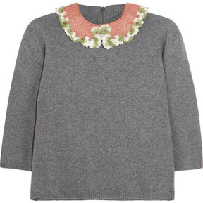 Valentino Embellished Wool And Cashmere-blend Sweater - Gray
