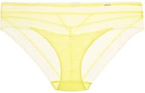 Chantelle Festivité Stretch-jersey And Lace Briefs - Pastel yellow