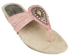 Bare Traps BareTraps Leather Thong Sandals w/ Stone & Chain Detail