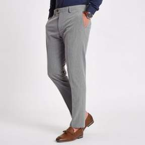 River Island Mens Grey stripe skinny fit suit pants