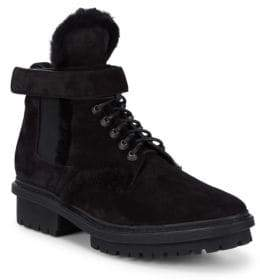 Balenciaga Shearling-Trimmed Leather Ankle Boots