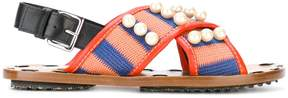 Marni pearl embellished striped sandals