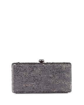 Neiman Marcus Sequin Box Clutch Bag, Gray