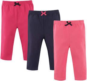Luvable Friends Pink, Dark Pink & Navy Leggings Set - Infant