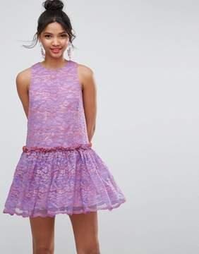 Asos Lace Smock Drop Waist Mini Dress