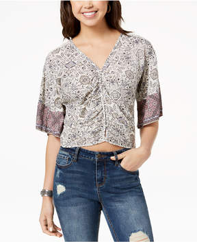American Rag Juniors' Ruched Tie-Back Printed Top, Created for Macy's