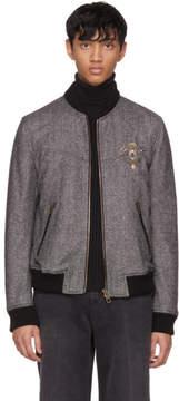 Dolce & Gabbana Black and White Herringbone Crest Bomber Jacket
