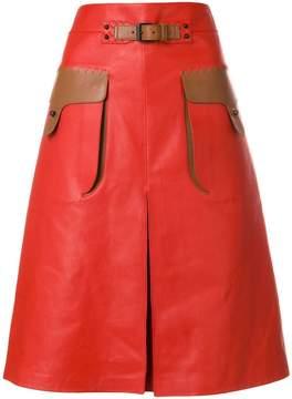 Bottega Veneta contrast pocket A-line skirt