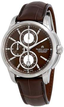 Maurice Lacroix Pontos Chronograph Brown Dial Brown Leather Automatic Men's Watch