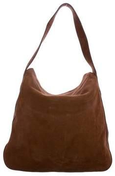 Prada Suede Fold-Over Flap Shoulder Bag