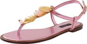 DOLCE & GABBANA Shell And Crystal Metallic Sandal