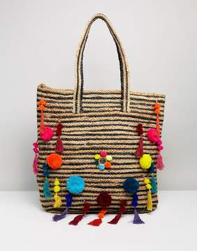 Raga Beach Vibes Pom Pom Straw Tote Beach Bag