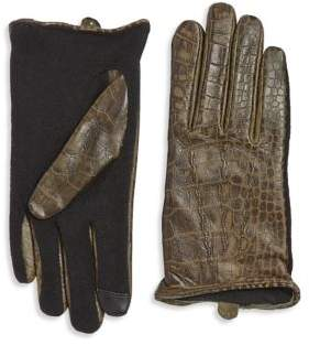 Lauren Ralph Lauren Croc Embossed Gloves