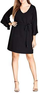 City Chic Bell-Sleeve Belted Dress