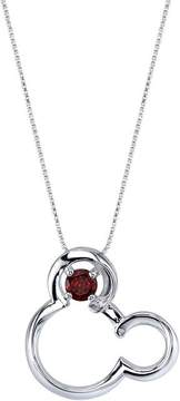 Disney Sterling Silver Mickey Mouse Pendant Necklace with Lab-Created Garnet