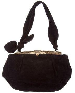 Alaïa Lizard-Trimmed Suede Bag