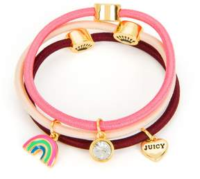 Juicy Couture Set of 3 Rainbow Charm Hair Elastics