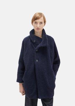 Blue Blue Japan Pile Fur Stand Collar Coat One Size: Medium
