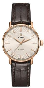 Rado Coupole Classic PVD Rose Goldplated Stainless Steel and Leather Strap Automatic Watch