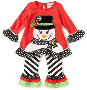 Rare Editions Little Girls 2T-6X Christmas Snowman Applique Top & Striped Leggings Set