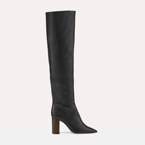 Maje Leather thigh boots with heel