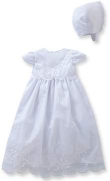 Edgehill Collection Baby Girls Newborn-9 Months Flower & Pearl Christening Dress