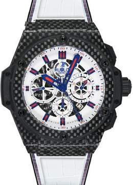 Hublot Big Bang Chronograph Skeleton Dial Leather Men's Watch