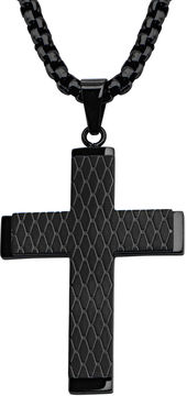 JCPenney FINE JEWELRY Inox Jewelry Mens Patterned Stainless Steel and Black IP Cross Pendant Necklace