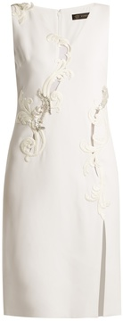 VERSACE Embroidered sleeveless silk-cady dress