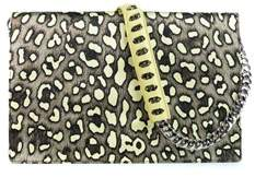 Roberto Cavalli Silk Leather Large Yellow Cheetah Print Juno Clutch