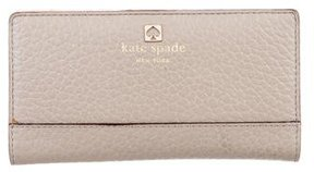 Kate Spade Leather Flap Wallet - BROWN - STYLE