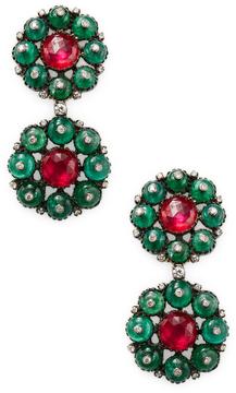 Amrapali Women's Ruby and Emerald Drop Earrings
