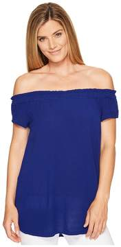 Allen Allen Ruffle Edge Off the Shoulder Top Women's Clothing