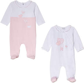 Mayoral Pack of 2 Pink Heart Stitched Babygrows