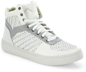 Diesel Men's Spaark Woven Leather Mid-Top Sneakers